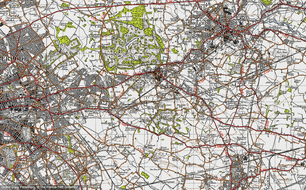 Old Map of Whiston Cross, 1947 in 1947