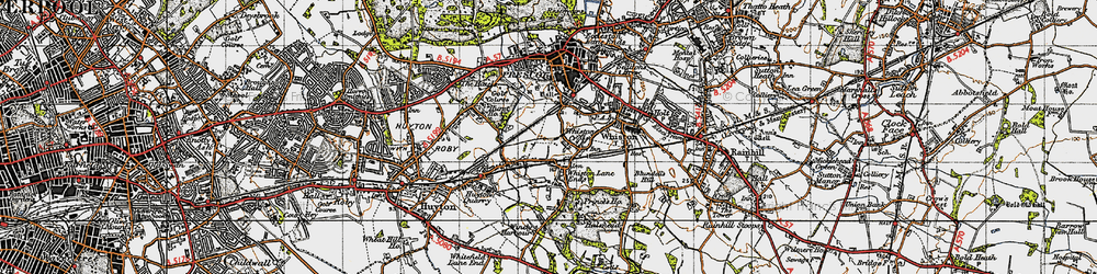 Old map of Whiston Cross in 1947