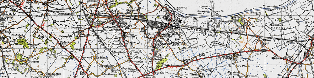 Old map of Whitby in 1947