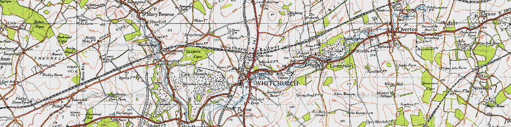 Old map of Whitchurch in 1945