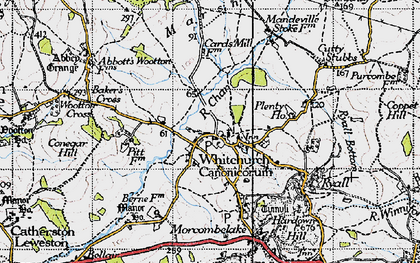 Old map of Whitchurch Canonicorum in 1945