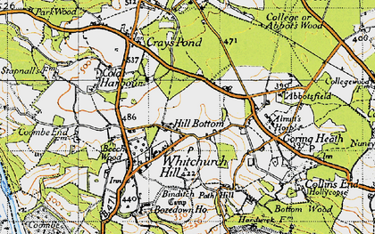 Old map of Whitchurch Hill in 1947