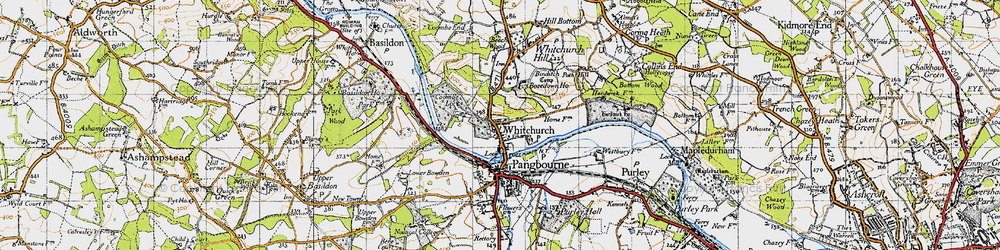 Old map of Whitchurch-on-Thames in 1947