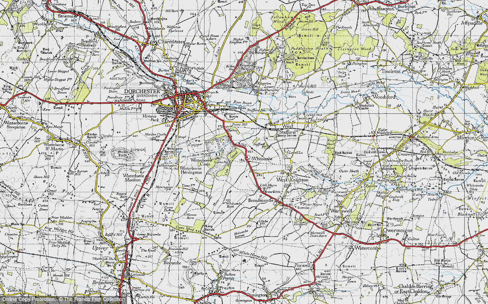 Old Map of Whitcombe, 1945 in 1945