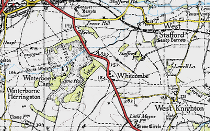 Old map of Whitcombe in 1945