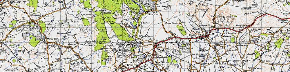 Old map of White Cross in 1945