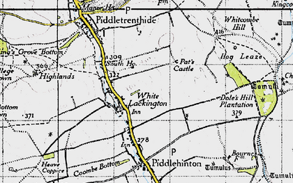 Old map of White Lackington in 1945