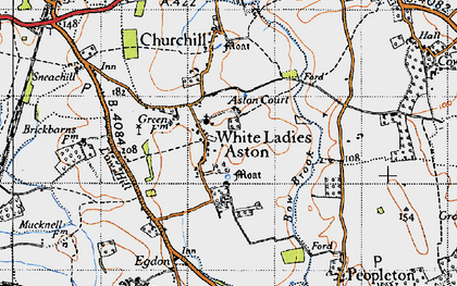 Old map of White Ladies Aston in 1946