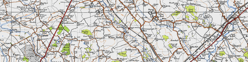 Old map of White Notley in 1945