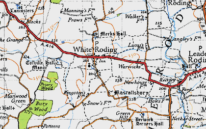 Old map of White Roding in 1946