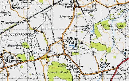 Old map of White Waltham in 1947