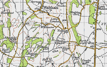 Old map of Whiteacre in 1947