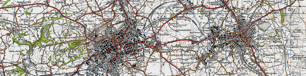 Old map of Whitebirk in 1947