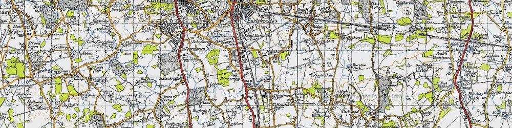 Old map of Whitebushes in 1940