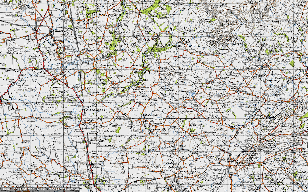 Old Map of Historic Map covering Wood Fold in 1947