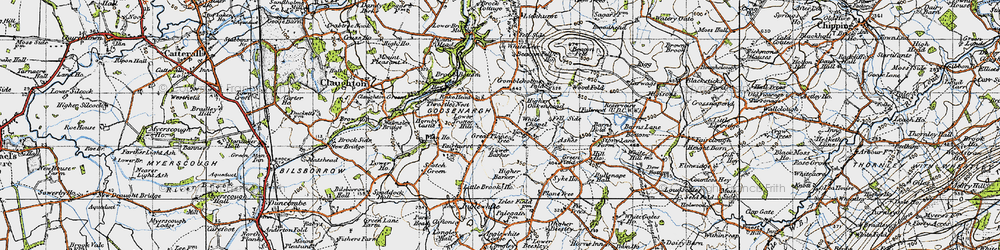Old map of Wood Fold in 1947