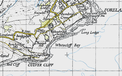 Old map of Whitecliff Bay in 1945