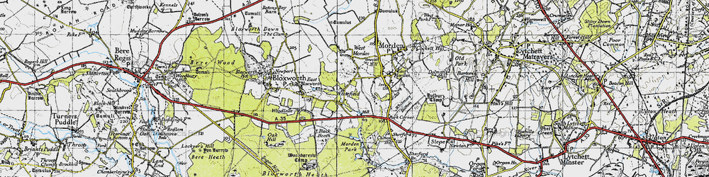 Old map of Whitefield in 1940
