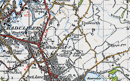 Old map of Whitefield in 1947