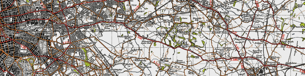 Old map of Whitefield Lane End in 1947