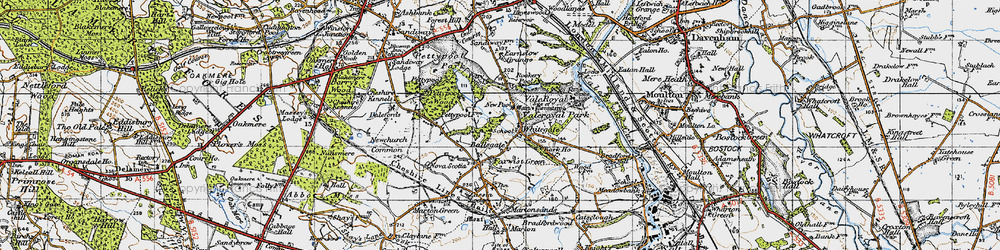 Old map of Whitegate in 1947