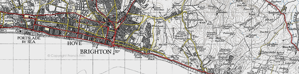 Old map of Whitehawk Camp in 1940