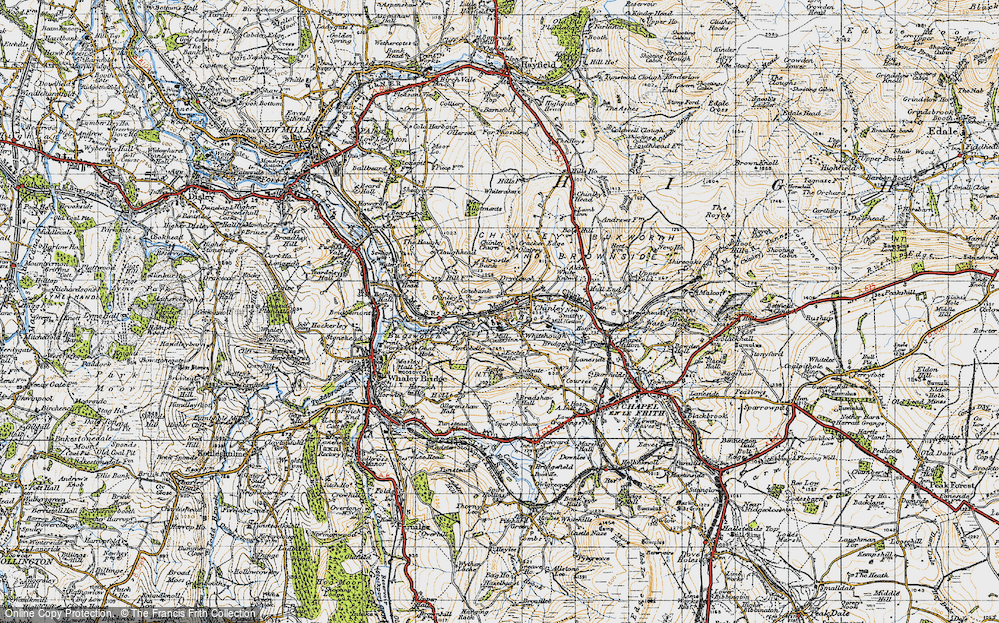 Old Map of Whitehough, 1947 in 1947
