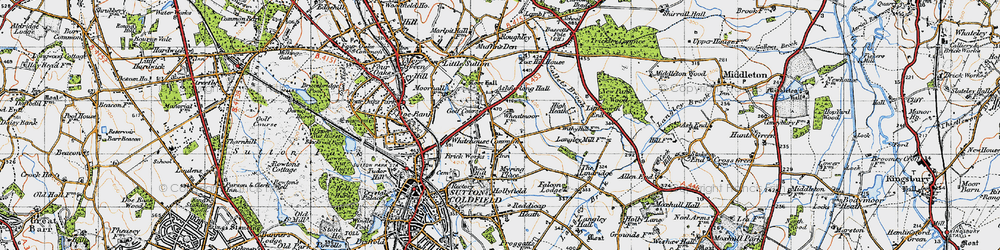Old map of Whitehouse Common in 1946
