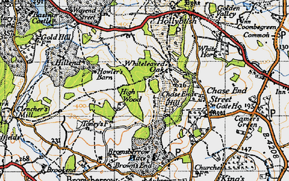 Old map of Whiteleaved Oak in 1947