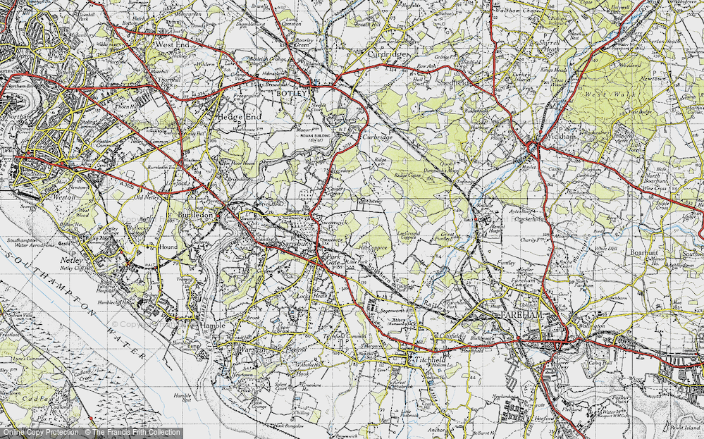 Old Map of Whiteley, 1945 in 1945