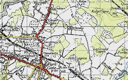 Old map of Whiteley in 1945