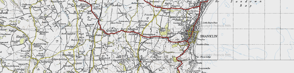 Old map of Whiteley Bank in 1945