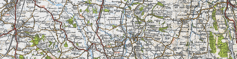 Old map of Whiteley Green in 1947
