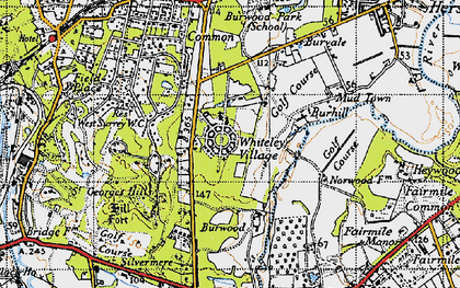 Old map of Whiteley Village in 1940