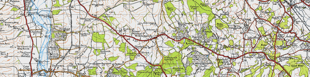 Old map of Whiteparish in 1940