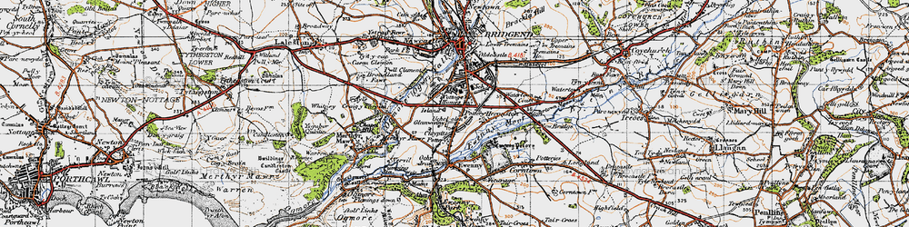 Old map of Whiterock in 1947