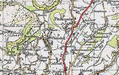 Old map of Whiteshill in 1946