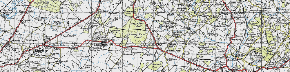 Old map of Whitesmith in 1940