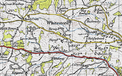 Old map of Whitestone Wood in 1946