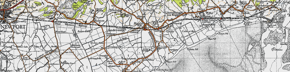 Old map of Whitewall Common in 1946