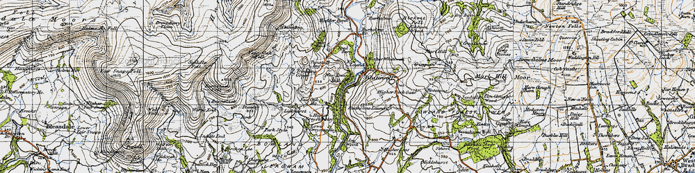 Old map of Whitewell in 1947