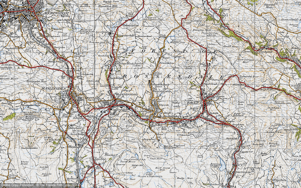 Old Map of Whitewell Bottom, 1947 in 1947