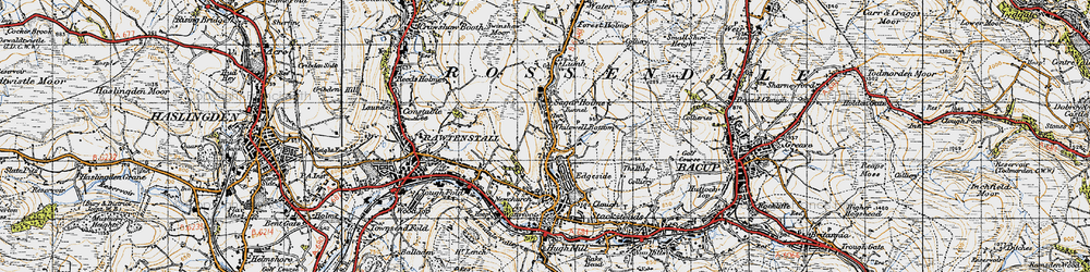 Old map of Whitewell Bottom in 1947