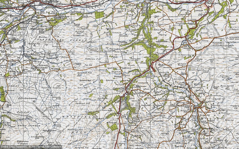 Old Map of Historic Map covering Agar's Hill in 1947