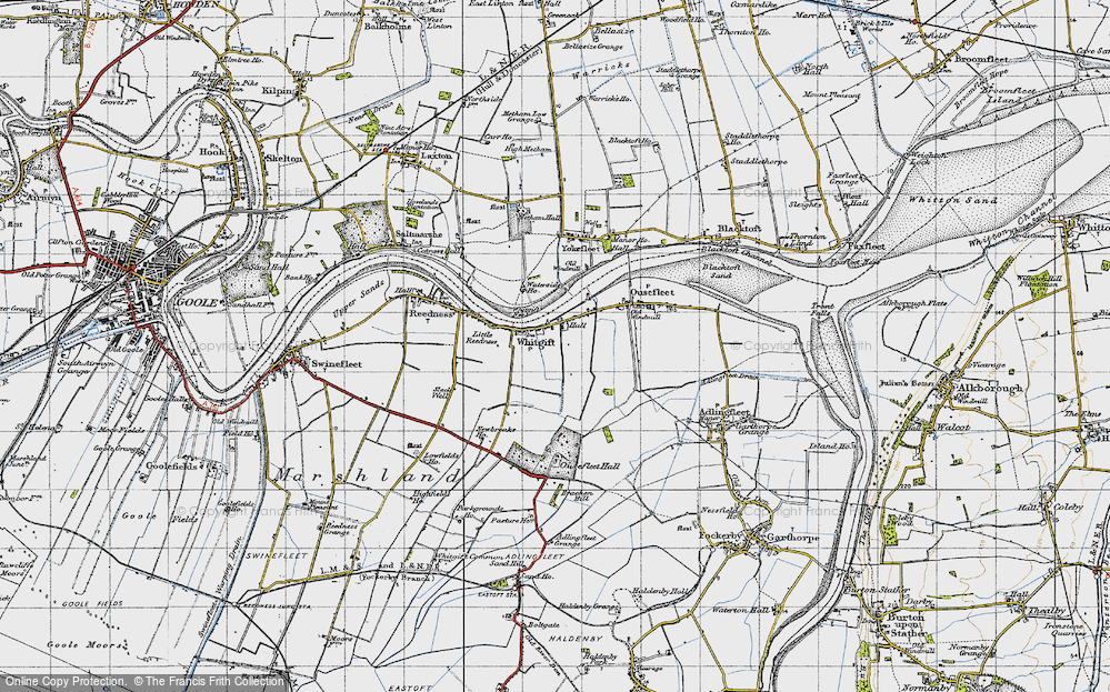 Old Map of Historic Map covering Adlingfleet Grange in 1947
