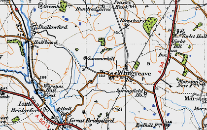 Old map of Whitgreave Manor in 1946