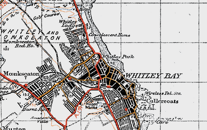 Old map of Whitley Bay in 1947