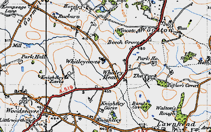 Old map of Whitley Heath in 1946