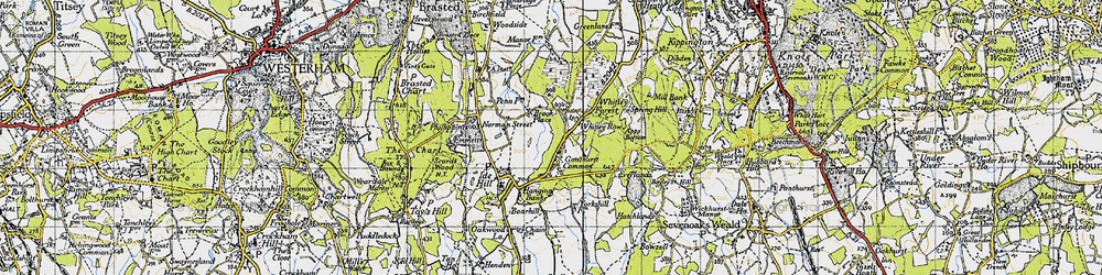 Old map of Whitley Row in 1946