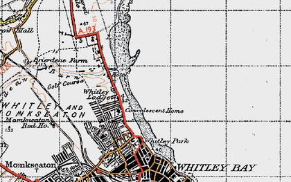 Old map of Whitley Sands in 1947